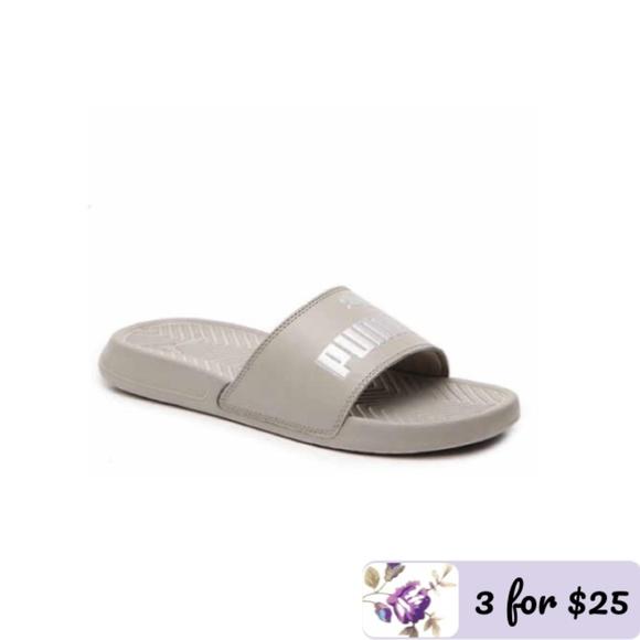 20f3b6487ca Grey Puma Popcat Slide Sandals
